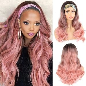 Blooming Hair Ombre Pink Headband Wig